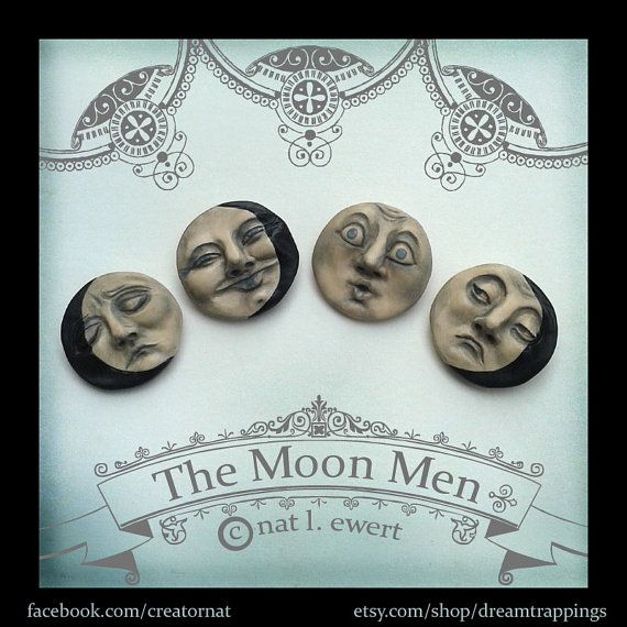 Moon Men Face Brooch Pin-Polymer Clay Jewelry by dreamtrappings