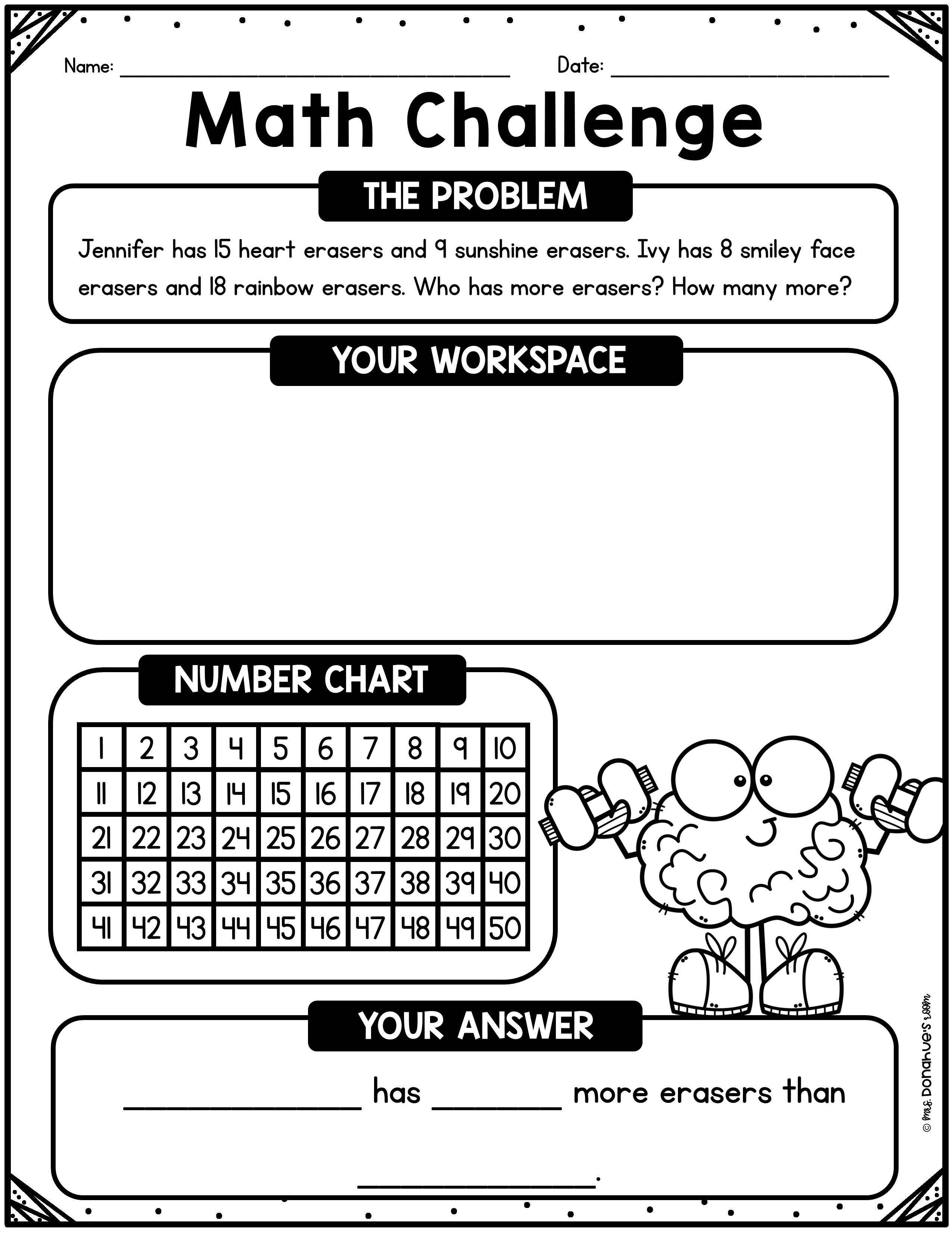 Freebie Math Reasoning Word Problem Samples Word Problems Math Challenge Math Addition and subtraction reasoning
