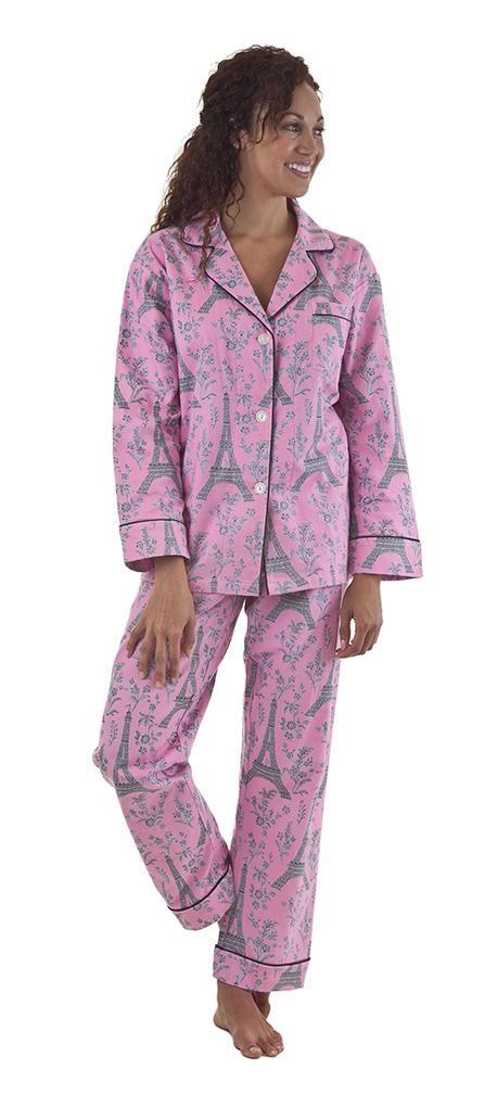 BedHead Pink & Grey Eiffel Tower Flannel Pajama   Style ...