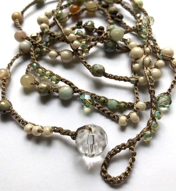 Perlen häkeln Armband Sahne und Aqua Moon Beam