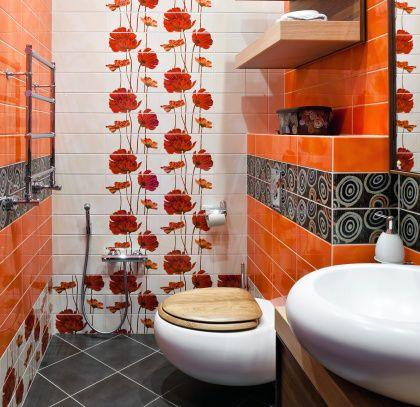Retro Bathroom Makeover Orange Bathrooms Designs Orange Bathrooms Vibrant Bathroom