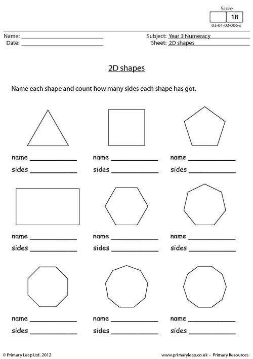 PrimaryLeap co uk - 2D shapes Worksheet | Math | Geometry