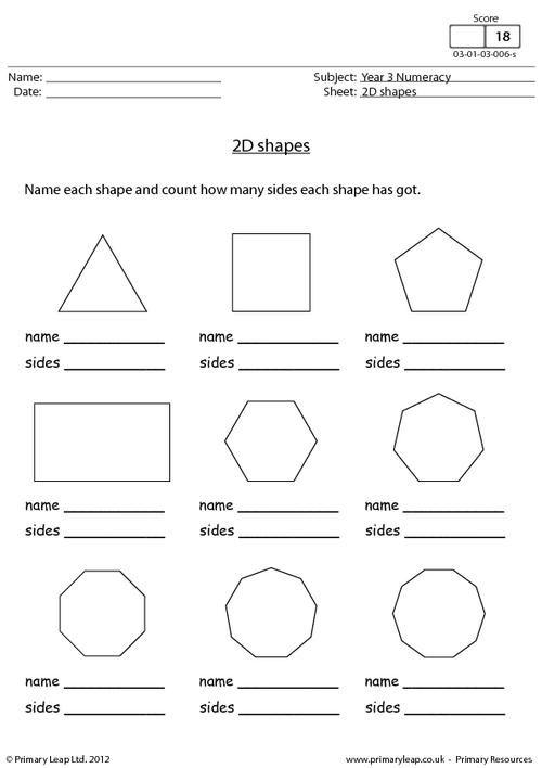 Primaryleap Co Uk 2d Shapes Worksheet Con Imagenes Geometria