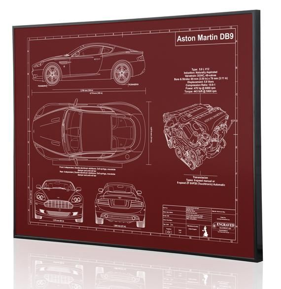 Aston Martin DB9 Laser Engraved Wall Art . Engraved On