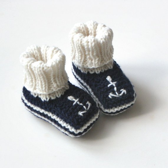 e3eadf9548c07 Dark blue baby booties with anchor knit sailor booties wool baby ...