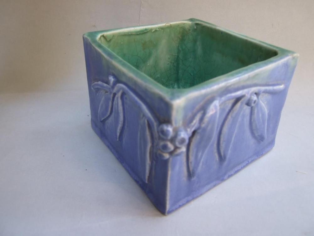 Australian pottery harvey school blue vase bowl gumnuts
