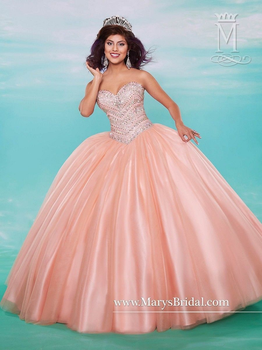 Mary\'s Quinceanera XV Sweet 15 Prom Dress Ball Gown 4628 Peach Coral ...