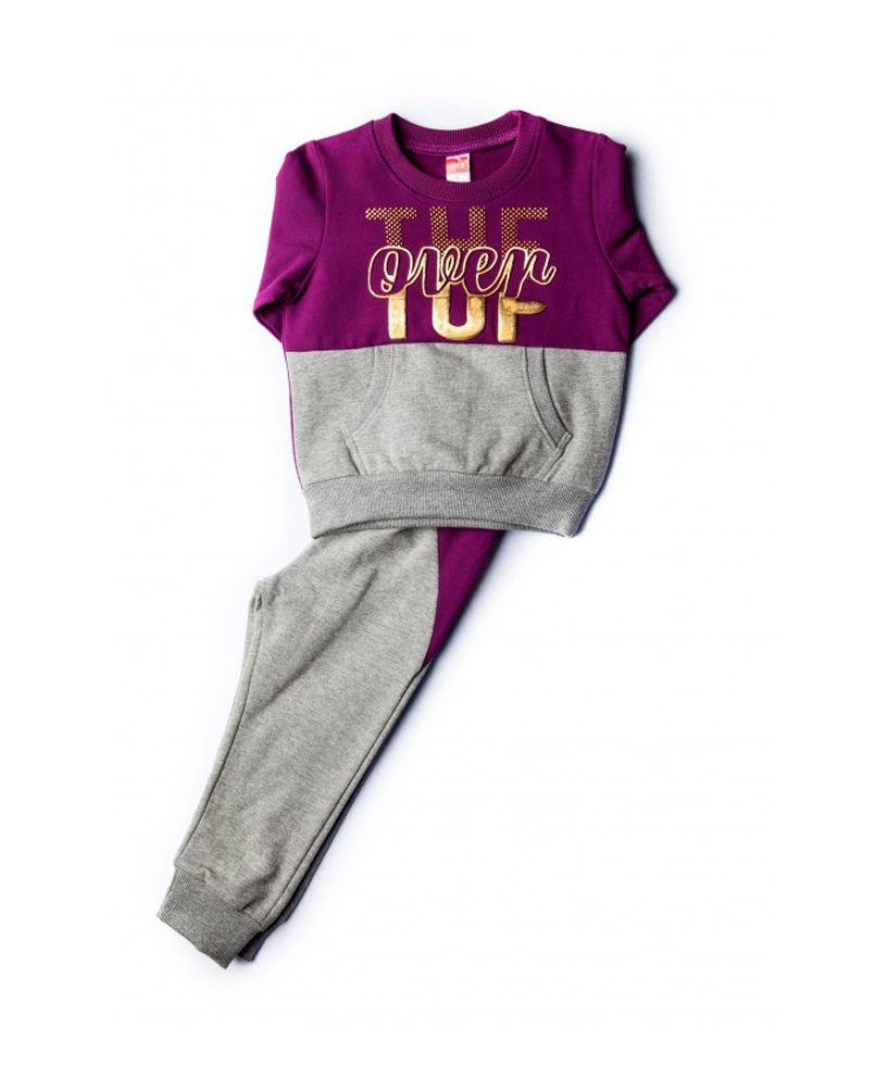 603fb030a773 Παιδική φόρμα για κορίτσι φούτερ μωβ - γκρι