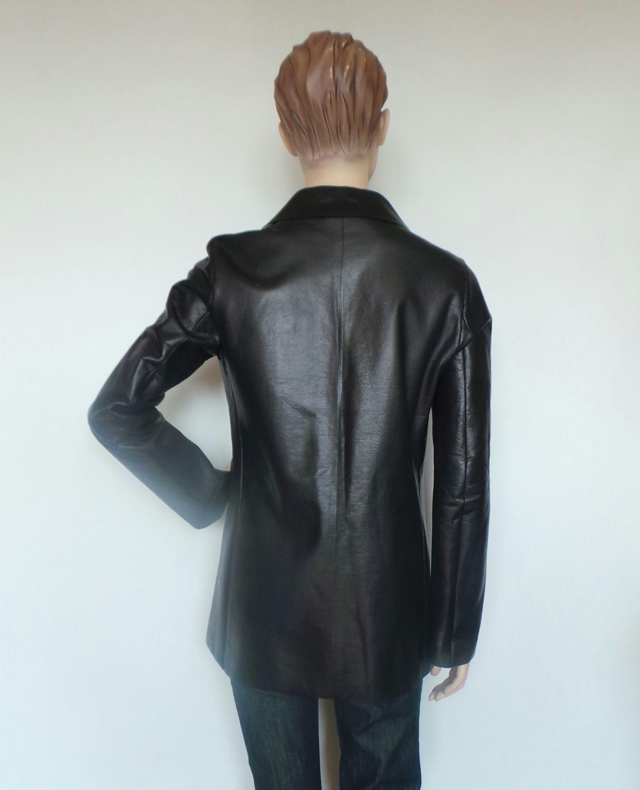 Jil Sander Women 039 s Leather Pea Coat Jacket Made in Italy Size 4   eBay
