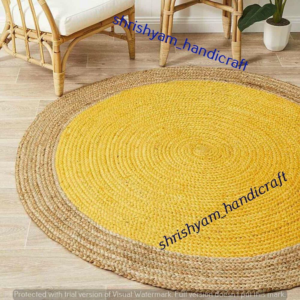 Natural Jute Rug Floor Handmade Round Area Carpet Modern Reversible 4 Feet Rug Handmade Braided Jute Round Rug Natural Rug Floor Rugs