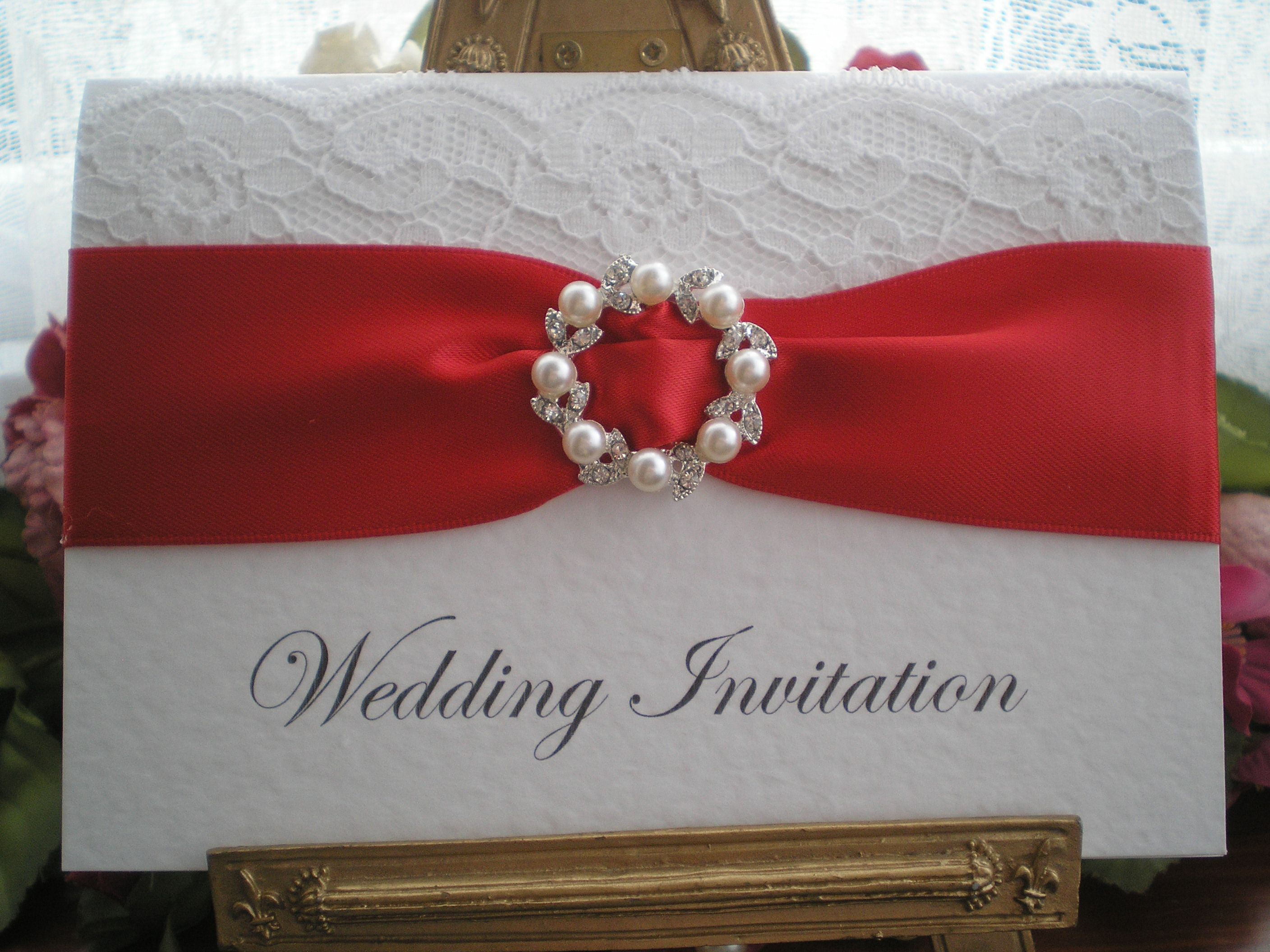 wedding card design software for android%0A R    e White Lace Red Wedding Invitation Pearl Diamante Buckle Available  from www vintagelaceweddingcards co