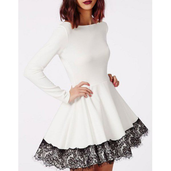 Stylish Slash Neck Long Sleeve Lace Spliced Dress For Women
