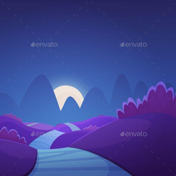 Night Cartoon Landscape Summer Landscape Landscape Cartoon Illustration