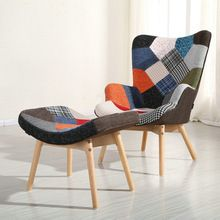 patchwork fabric comfortable Grant style lounge chair