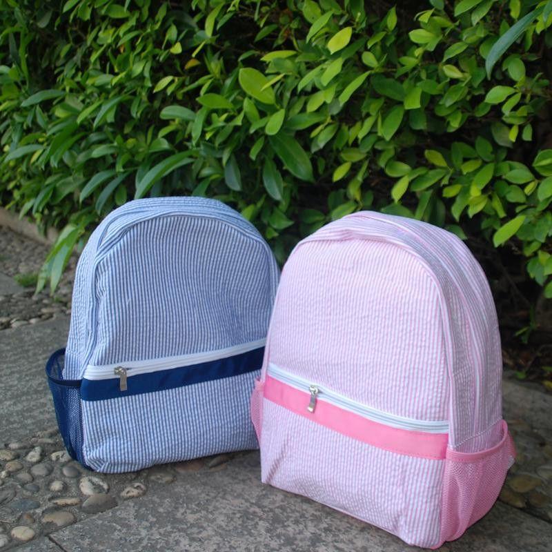 New Design Seersucker Backpack Kid School Bag In Two Colors Buy