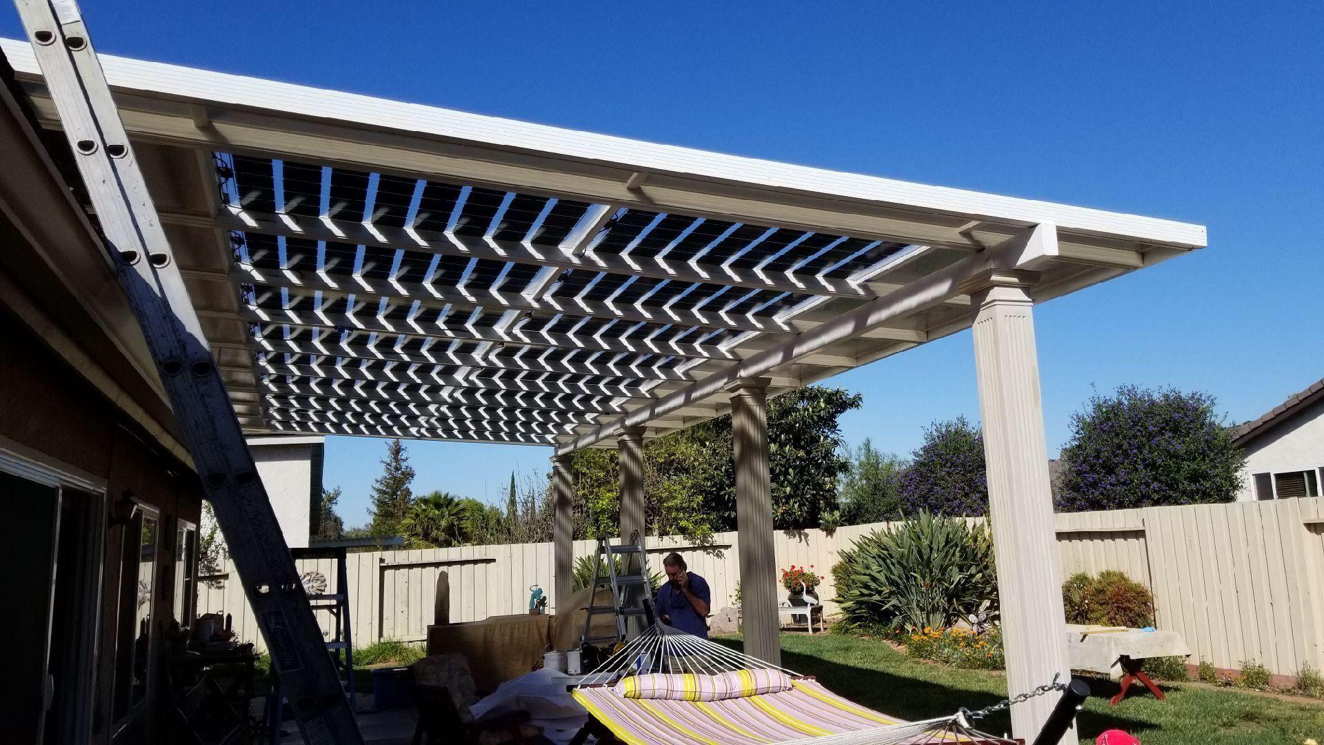 glass solar panel patio cover pergola