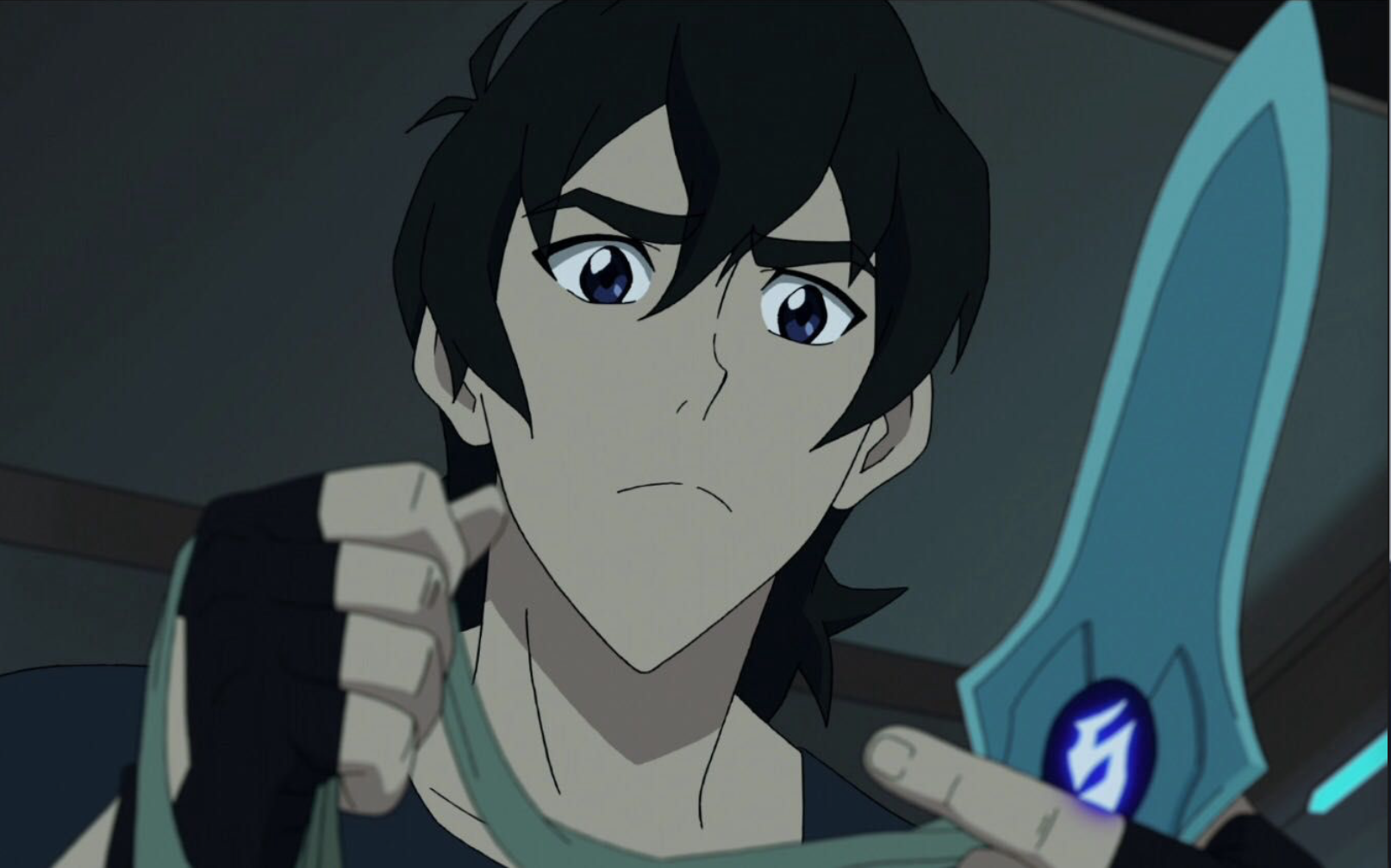 Keith and his dagger knife blade with the Galra crest on it
