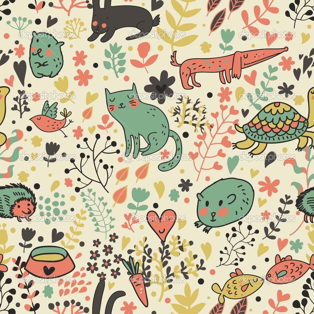 Wallpapers pattern fills web page backgrounds surface textures - Depositphotos_25066217 Funny Animals In Flowers Cartoon Seamless Pattern Wallpaper Patternspage Backgroundsurface Patterncat Patterntexturedogfunny