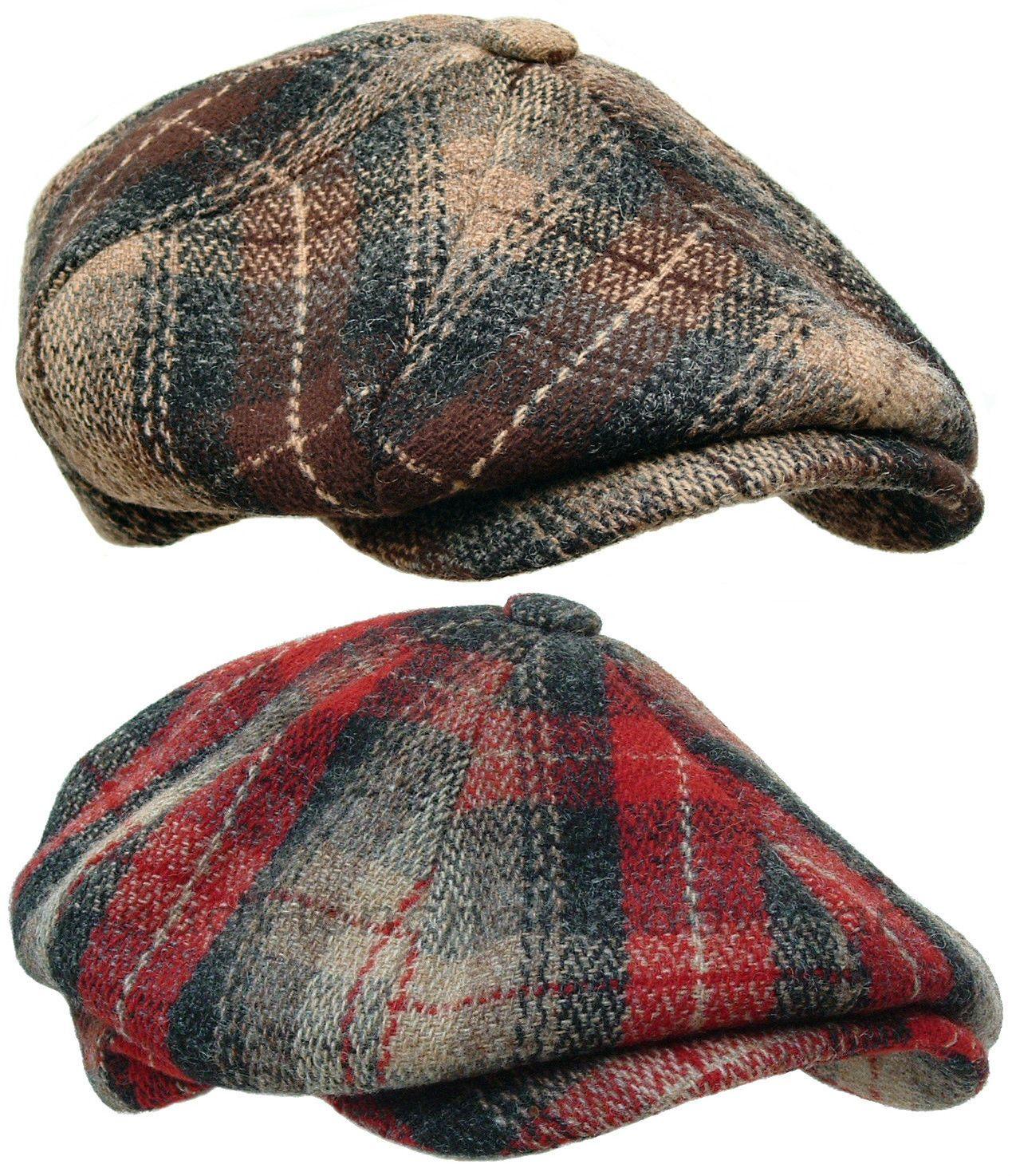 72f2292029c WOOLRICH PLAID Wool Tweed Gatsby Newsboy Cap Men Ivy Hat Golf Driving red  Cabbie