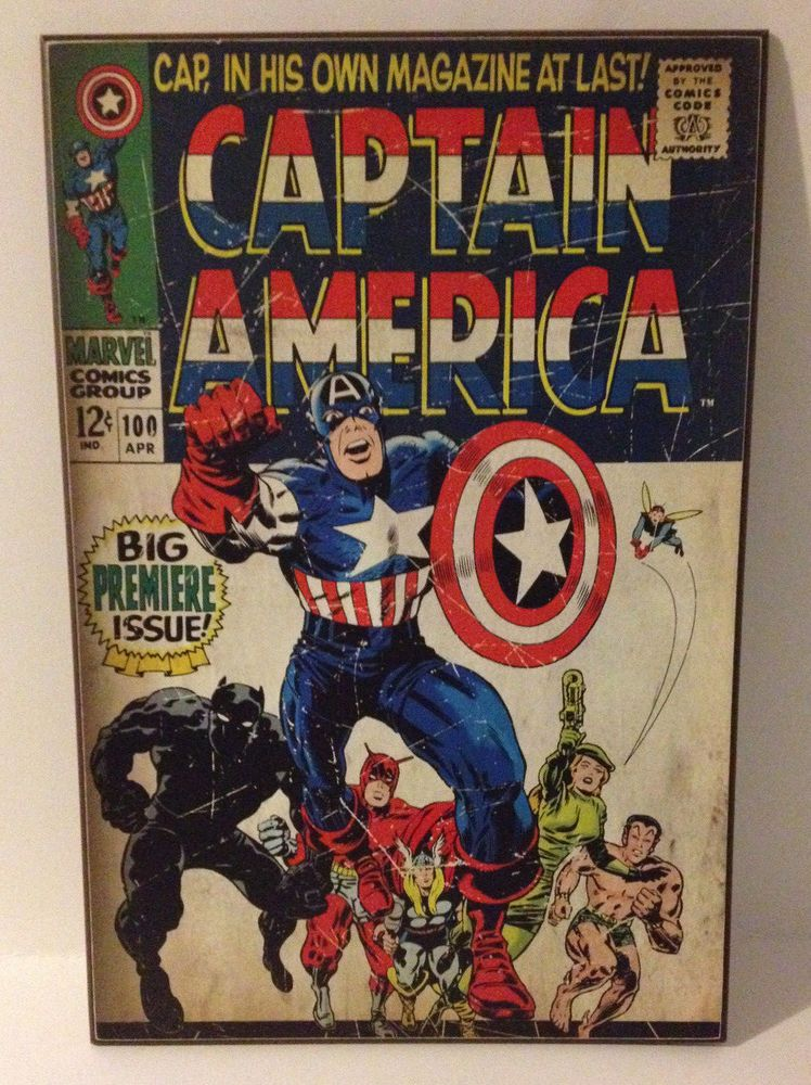 Marvel Action Comic Cover Art Captain America 100 Hanging Wood Wall