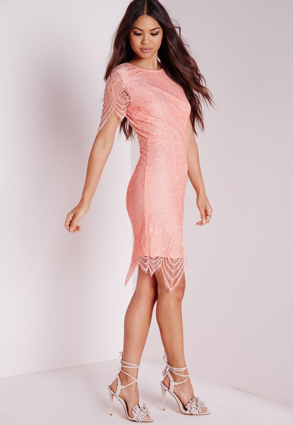 Lace dress bodycon  Missguided  Lace Short Sleeve Bodycon Dress Pink  Wedding day