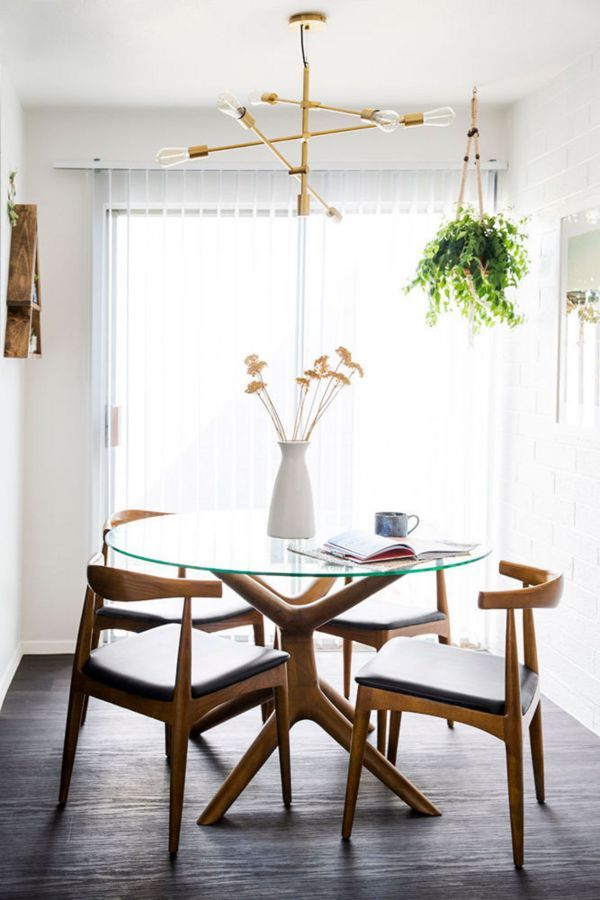 Glass Dining Table Midcentury Modern Dining Room Small Mid