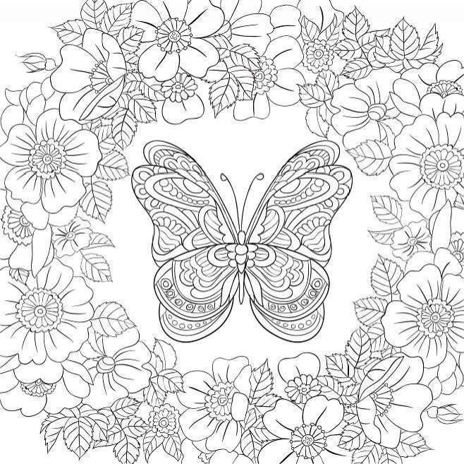 Butterfly Garden Beautiful Butterflies And Flowers Patterns For Relaxation Fun And Stress Butterfly Coloring Page Garden Coloring Pages Flower Coloring Pages