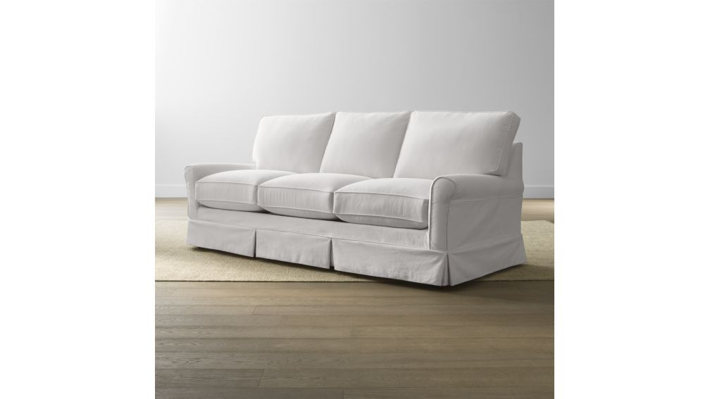 harborside slipcovered 3-seat sofa - crate and barrel | crates