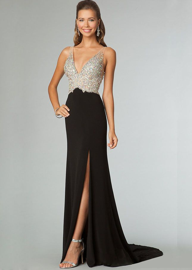 Sheer Straps Black Beading Low Cut Back Long Trailing Gown | Fancy ...