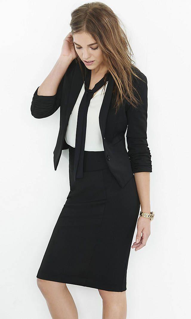 cc3b44a8846a Womens Studio Stretch Jacket   Pintucked Pencil Skirt