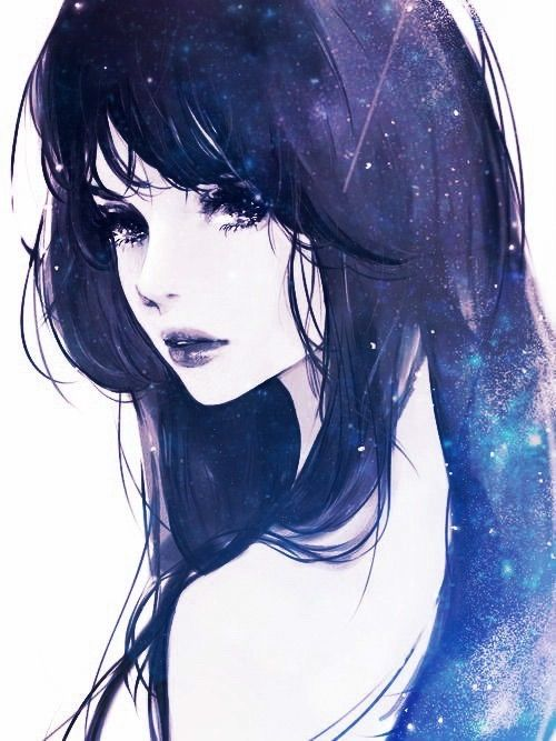 I Love This I Seem To Be Drawn To People And Galaxy Pictures And This Is The Best Of Both Worlds Gorgeous Color Choices Anime Galaxy Art Girl Anime Drawings