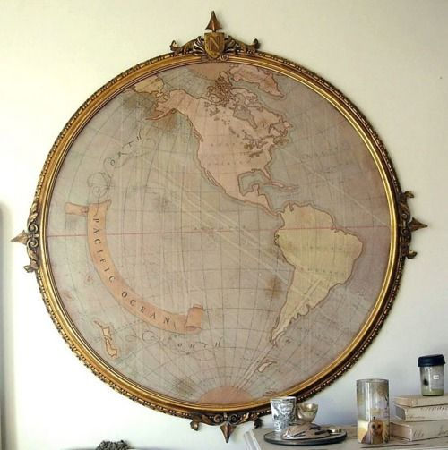 a map in an old frame or mirror frame!!! For the Home Pinterest - fresh wendy gold world map