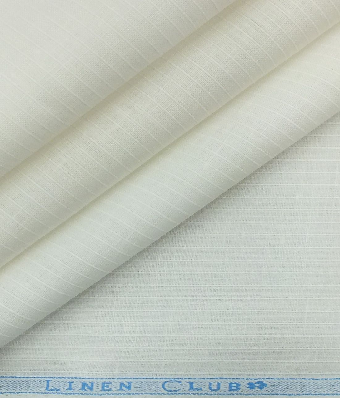 Linen Club White 100 Pure Linen 60 Lea Self Stripes Shirt Fabric 1 60 M Pure Linen Linen Fabric