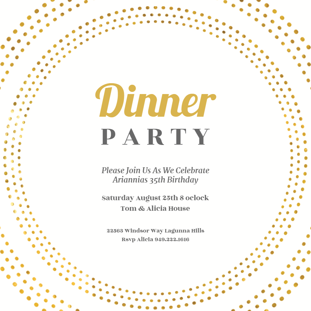 Circling Dots - Dinner Party Invitation Template (Free
