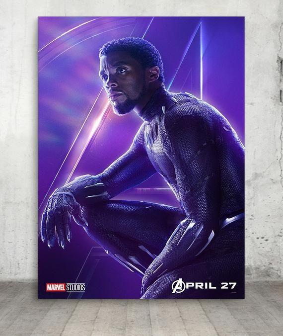 Marvels Avengers Black Panther Infinity War Movie Poster Print, Infinity War 2018 Wall Art,Films, Ci