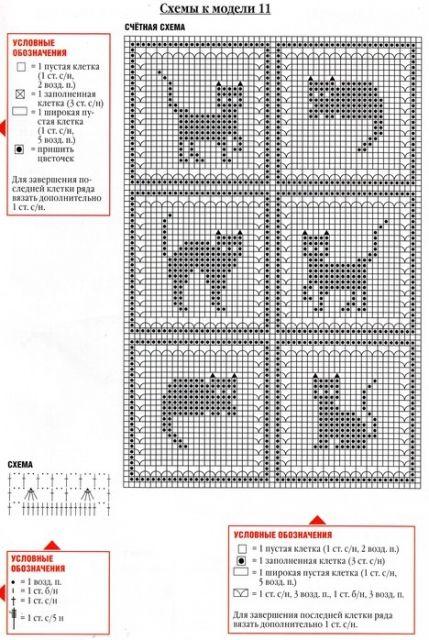 Три схемы вязания. Кошки и павлин.