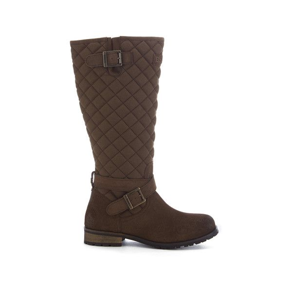 Barbour Women S Holford Waxy Suede Quilted Knee Boots 195 Liked On Polyvore Featuring Shoes Boots Brown Qu Boots Brown Flat Boots