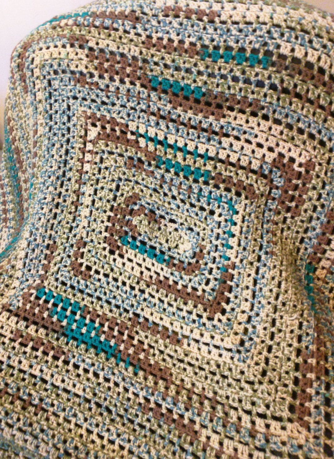 Afghan throw lap blanket tan turquoise and green hippie crochet bankloansurffo Image collections
