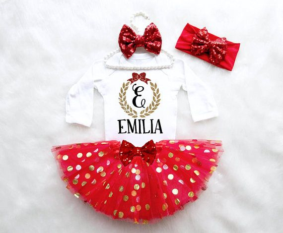 First Christmas Outfit Baby Girl Christmas Outfit Holiday Outfit