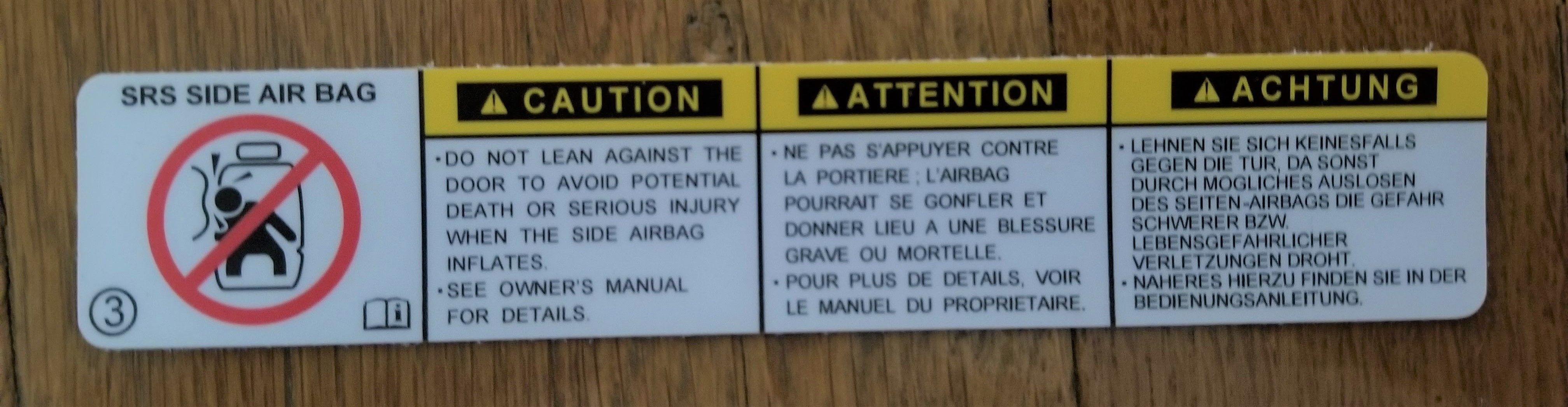 Airbag Label English French Labels Serious Injury Air Bag [ 1048 x 4032 Pixel ]