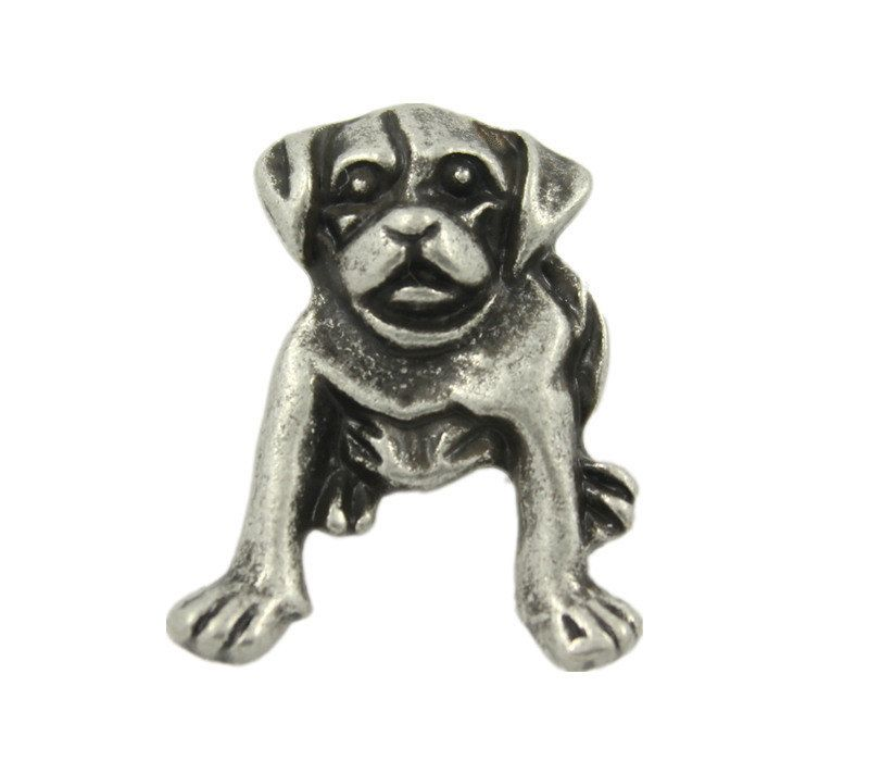 Antique Silver Dog Metal Shank Buttons - 23mm - 7/8 inch