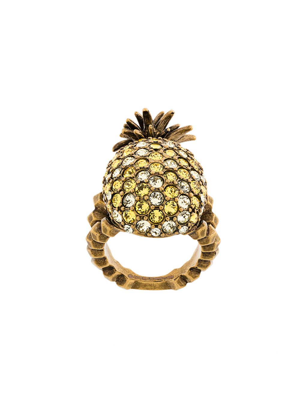 2a26a2841 Crystal Studded Pineapple Ring In Metal, Gold   Gucci, Ring and Delivery