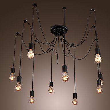 Edison Style 10 Lights Bulb Chandelier Ceiling Light Pendant