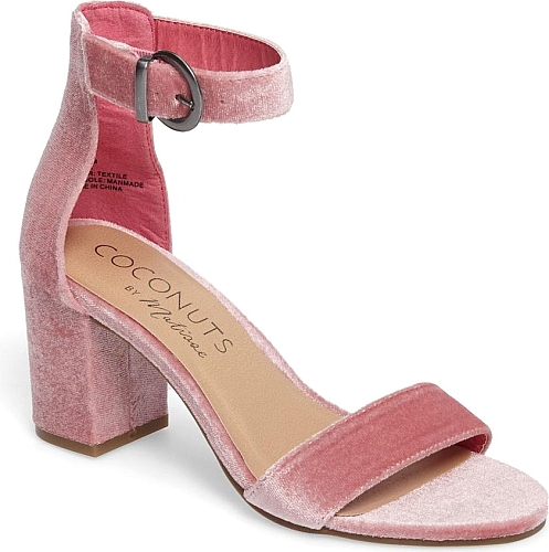 40fc2d45bd32 Women s Coconuts By Matisse Greta Sandal in Pink Velvet. A covered block  heel and adjustable ankle strap define an essential