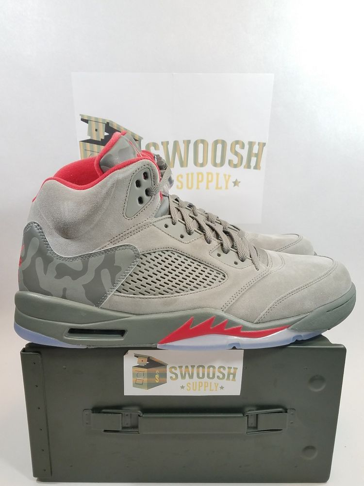 6fabc2fc02ab74 Nike Air Jordan Retro 5 V Camo Take Flight 136027-051 Dark Stucco Fire Red  3M  Nike  BasketballShoes