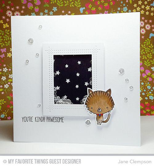 Cat-itude, Cat-itude Die-namics, Rectangle Peek-a-Boo Window Die-namics, Stars In the Sky - Vertical Die-namics - Jane Clempson  #mftstamps