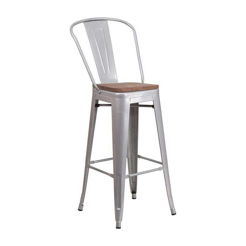 Offex 30 High Bistro Style Silver Metal Barstool With Back And Wood Seat Grey Metal Bar Stools Bar Stools Flash Furniture