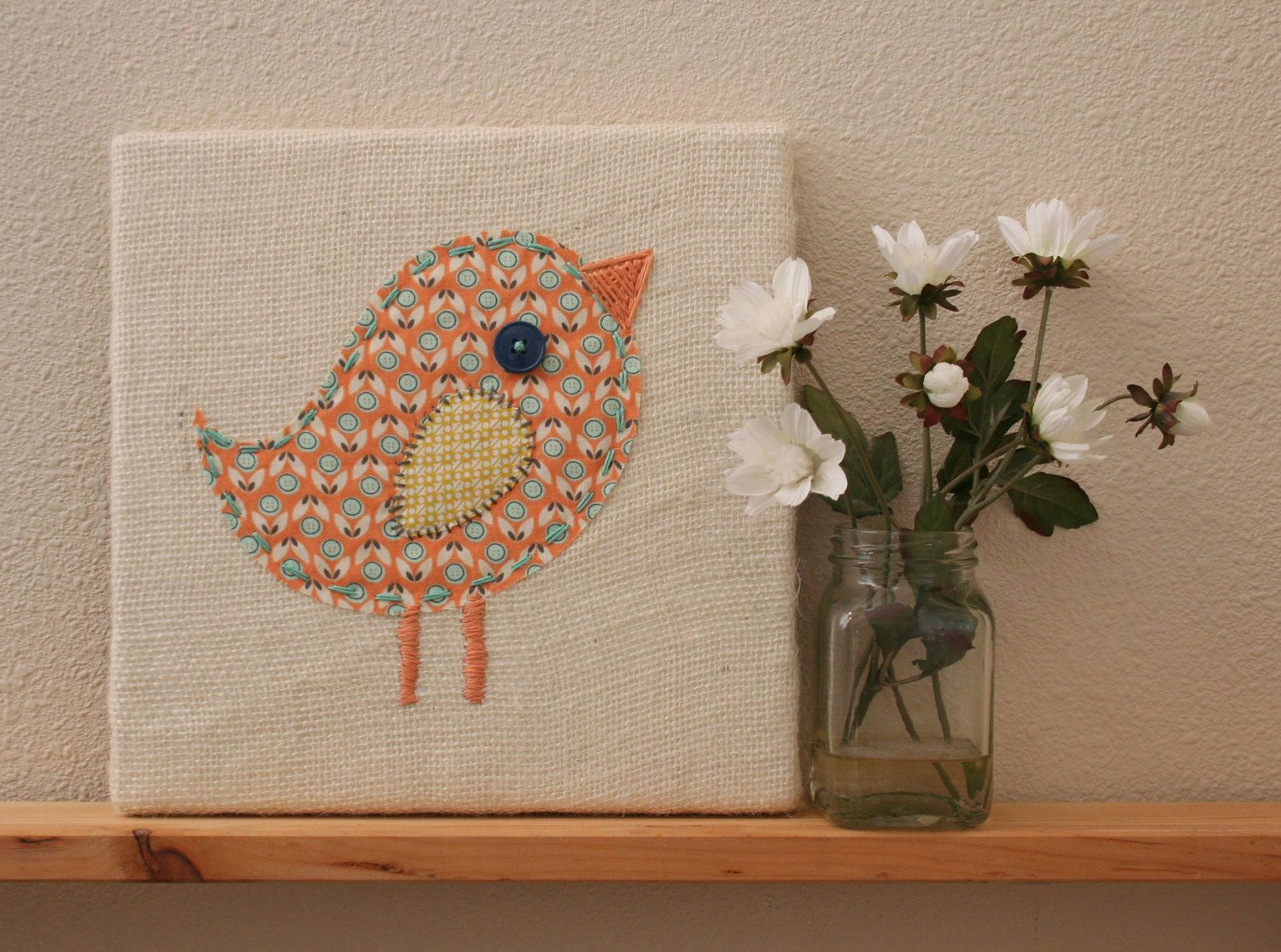 Stitched bird art on canvas nursery art kids wall art playroom