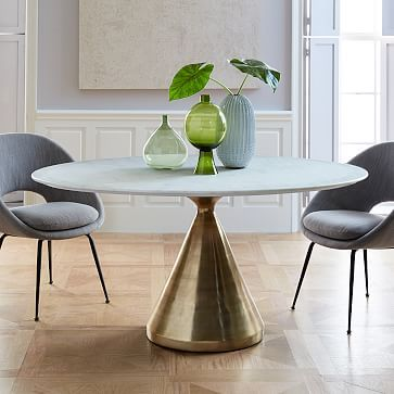 Silhouette Pedestal Oval Dining Table White Marble Antique Brass