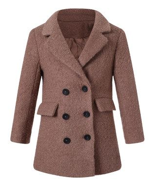 a1b19876c Brown Double-Breasted Wool-Blend Peacoat - Toddler   Girls